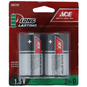BATTERY ALKALINE D 2PCS ACE