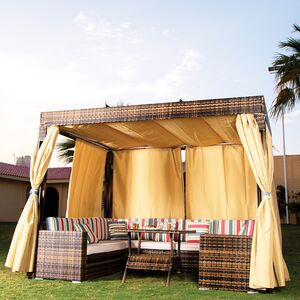 GAZEBO W/SEATING SET & SIDE CURTAIN
