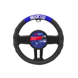 STEERING WHEEL COVER PU MEDIUM BLK&BLUE