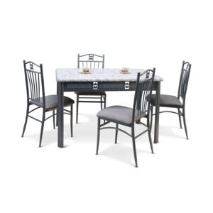 DINING SET RECT TABLE 4CHAIR BRWN FABRIC