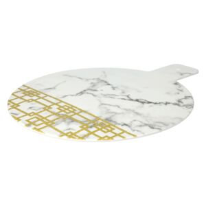 "CHEESE BOARD 15"" WHT MARBLE & GLD PATTRN"