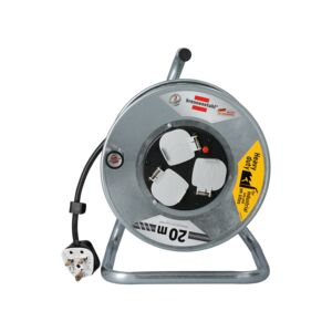 CABLE REEL 3WAY 20M GALV. STEEL DRUM