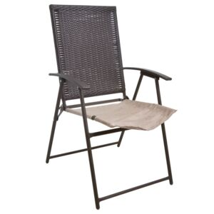 FOLDING CHAIR WICKER SS W/CUSH BEIGE