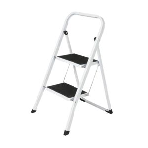 LADDER 2STEP 150KG STEEL WHITE