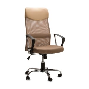 CHAIR OFFICE MESH BACK PVC BROWN