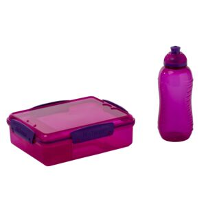 LUNCH BOX W/ 480ML BOTTLE PURPLE SISTEMA