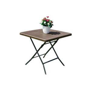 TABLE FOLDABLE 78X78X74CM SQUARE BROWN