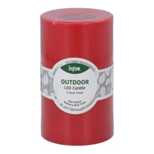 "CANDLE LED FLAMELESS 3X5"" PLASTIC RED"