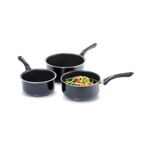 SAUCEPAN SET 3PCS PRESS ALU BLK WELLBERG