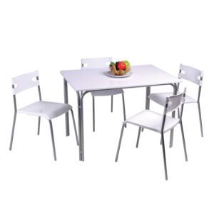 DINING SET SQR TABLE 4CHR WHT PP PLASTIC