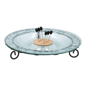 PLATTER SERVING GLASS 8COMP