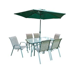 DINNING SET 6CHAIR & TABLE & UMBRL GREEN