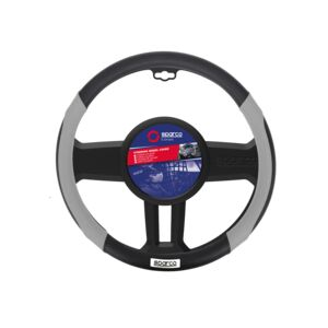 STEERING WHEEL COVER ANTIGRP MED BLK&GRY