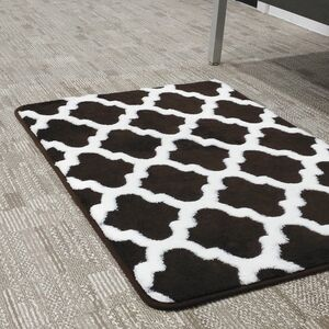 BATHMAT 50x81CM JACQUARD FLEECE BROWN