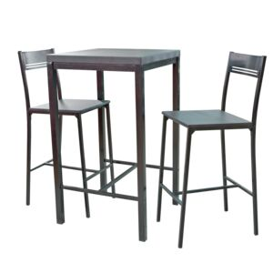 DINING SET SQR TABLE 2CHAIR BLACK MDF