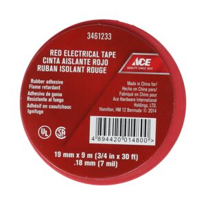 ELECTRICAL TAPE 19MMX9M 0.18MM RED ACE