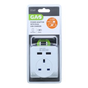 POWER ADAPTOR W/DUAL 2USB CHARGER GAO