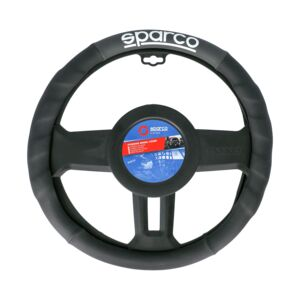 STEERING WHEEL COVER PU MEDIUM BLK&GREY