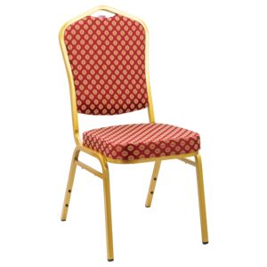 CHAIR BANQUET IRON GOLD FRAME, DARK RED