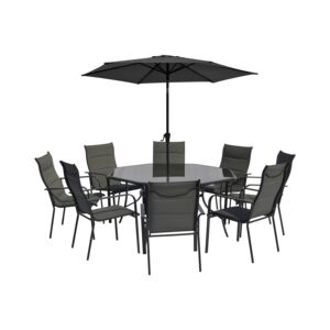 DINING 10PCS SET 8CHAIR 1TABLE 1UMBRELLA