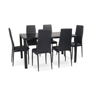 DINING SET 1+6 GLASS TOP BLK 140X90X76CM