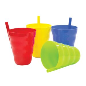 CUP PLASTIC W/BUILT IN STRAW 10oz ASSTD