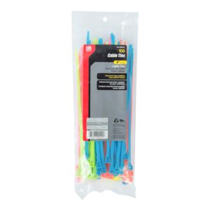 CABLE TIE 8''75LB 100/BAG FLOURESCENT