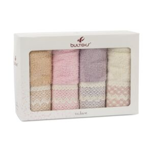 HAND TOWEL SET 4PCS 50X90CM LACY GUEST