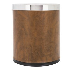 TRASH CAN DBL ROUND LEATHER FINISH 21