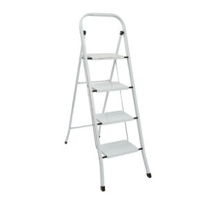 LADDER 4STEP 150KG STEEL WHITE