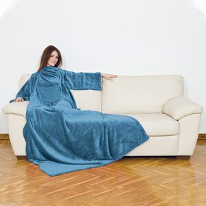 BLANKET W/SLEEVES&POCKET PLAIN OCEAN