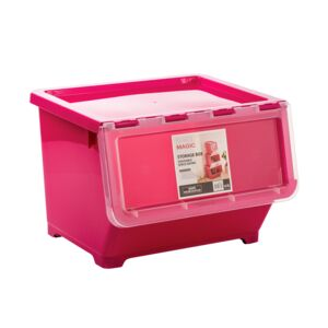 STORAGE BOX 30L PINK LARGE PLASTIC