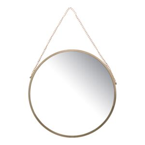 WALL MIRROR 40x40 GOLD WITH METAL CHAIN