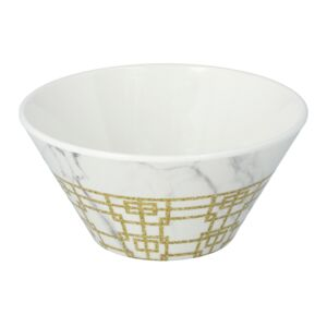 "BOWL 4.5"" WHT MARBLE & GOLD PATTERN"