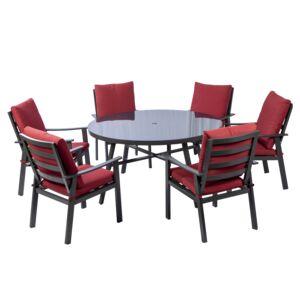 DINING SET 7PCS 1RND TABLE 6CHAIR