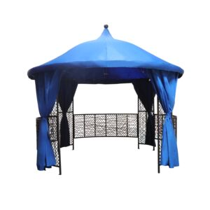 GAZEBO W/CURTAIN IRON FRAME + RATTAN