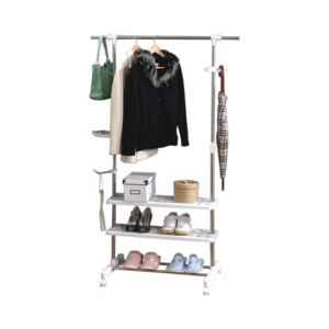 GARMENT RACK SINGLE BAR 3 BOTTOM SHELF