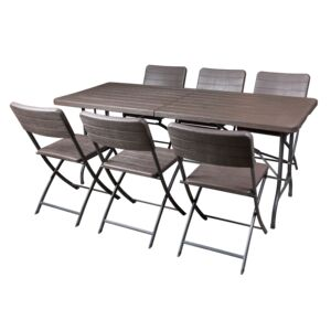 DINING SET 7PCS RECT. TABLE 6CHAIR BROWN