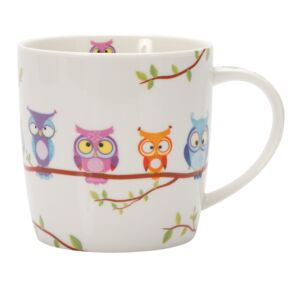MUG 350ML PORCELAIN OWL B HAPPY LIFE