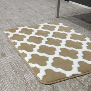 BATHMAT 50x81CM JACQUARD FLEECE BEIGE