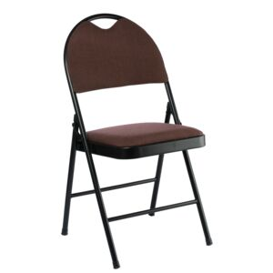 CHAIR FOLDABLE BLCK TUBE W/ BROWN FABRIC