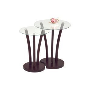 TABLE NESTING 2PC ROUND GLASS TOP