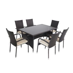 DINING SET 7PCS 6CHAIR 1TBL RATTAN STEEL