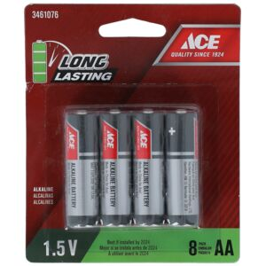 BATTERY ALKALINE AA 8PCS ACE