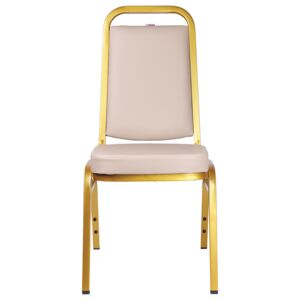 CHAIR BANQUET IRON GOLD FRAME, PU BEIGE
