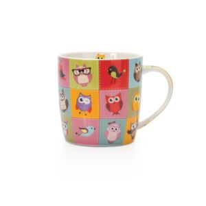 MUG 350ML PORCELAIN OWL C HAPPY LIFE