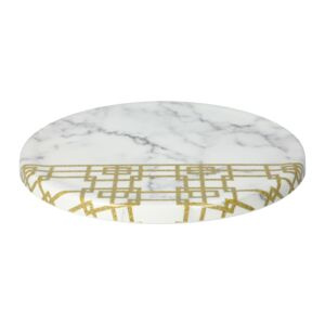 "PLATE 11"" RND WHT MARBLE & GOLD PATTERN"
