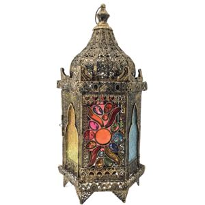 LANTERN WITH MAROON GLASS 25.5X23.5X55CM