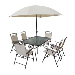 DINING 8PCS SET 6CHAIR 1TABLE 1UMBRELLA