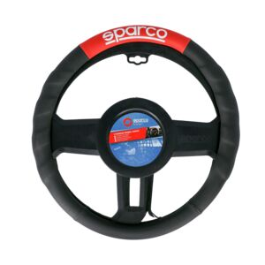 STEERING WHEEL COVER PU MEDIUM BLK&RED